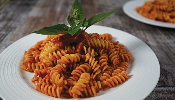 ... Pasta Recipe | Fusilli with Italian Bacon and Tomato Basil Sauce