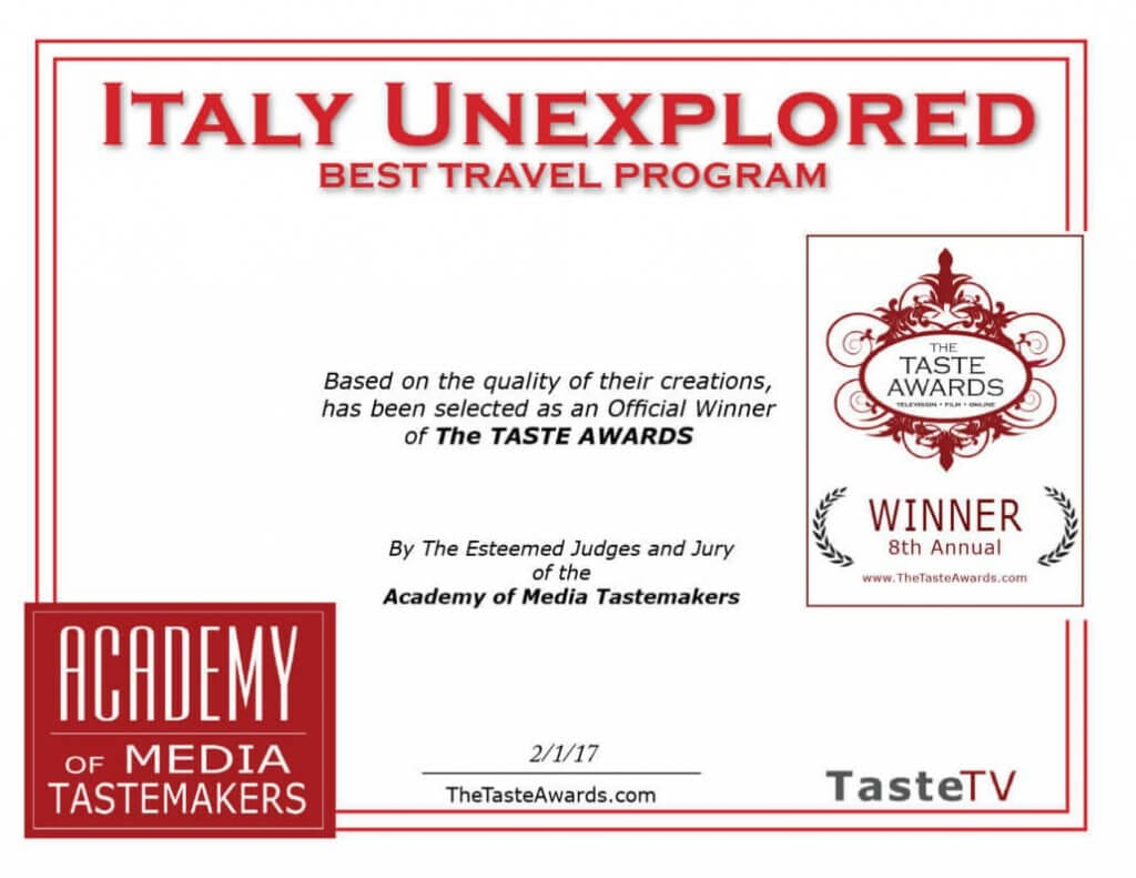 Best Travel Programme Taste Awards Winner Certificate