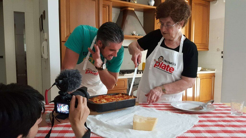 Vincenzo cooking a traditional Italian lasange recipe