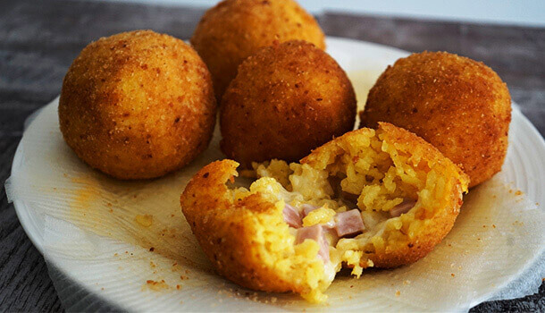 arancini ham and cheese recipe on a plate