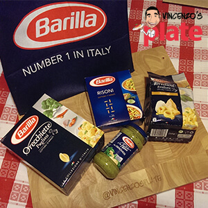 Barilla food products displayed on a table