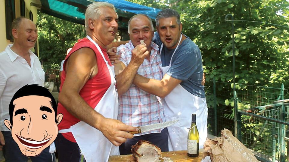 Italian man tasting porchetta recipe