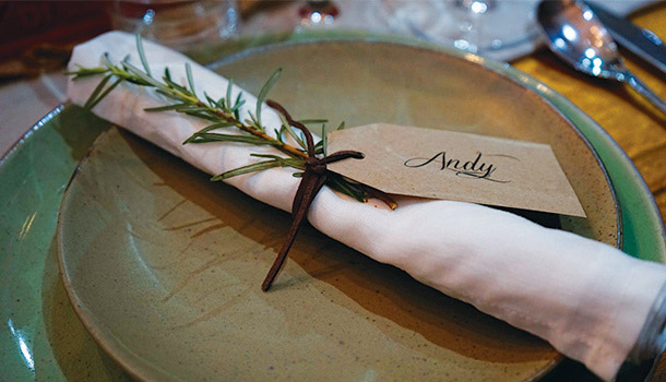 Cutlery and Rosemary Leaf on a Plate