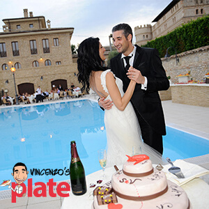 wedding cake and wedding at Italian castle courtyard