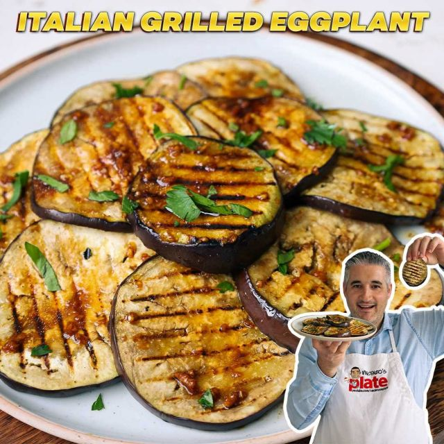 """ITALIAN GRILLED EGGPLANT RECIPE 🍆 Italian #grilledeggplant is rich and fragrant thanks to the authentic #balsamicvinegar in the dressing along with just the right amount of garlic char from the grill. 😋 This dish is an absolute crowd-pleaser and can be served as an #antipasto, alongside a main or even inside your next #panino…mmmm are you drooling yet? 🤤  👨🏻🍳 To get the #recipe GOOGLE """"Grilled Eggplant Vincenzo's Plate"""" or follow the link -> https://www.vincenzosplate.com/recipe-items/italian-grilled-eggplant/ . . . #melanzanegrigliate #grilledaubergine #eggplants #aubergines #melanzane #vegan #vegetarian #italianrecipe #italiandressing #vincenzosplate"""