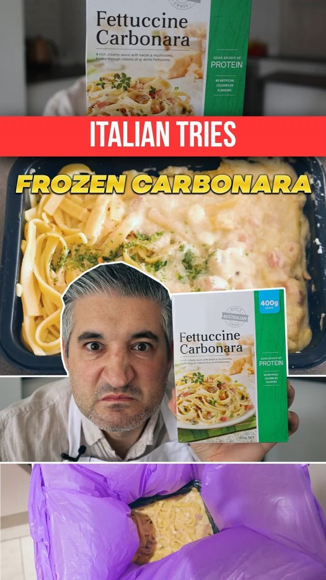 Italian Chef Try FROZEN CARBONARA for the First Time🥶💩. Frozen Carbonara is one of the most popular dishes from the frozen aisle but as an Italian I have never eaten it before. In this video I try Frozen Carbonara for the first time and I am a little worried for my stomach. I am a huge fan of Spaghetti Carbonara when done the right way and I get upset when I see chefs destroying this amazing Roman Dish. I get more upset when I see restaurants and companies making money selling you a fake product like this one. 🤑👻 Going through the ingredients list on the packet makes me sick already.  Let's see what my belly thinks of these Frozen Fettuccine Carbonara. . . . #frozencarbonara #frozenfood #frozencarbonarasauce #carbonara #spaghetticarbonara #italianchef #chefreaction #tastetest #italiancheck #italiantastetest #carbonarataste #carbonaraforlife #vincenzosplate
