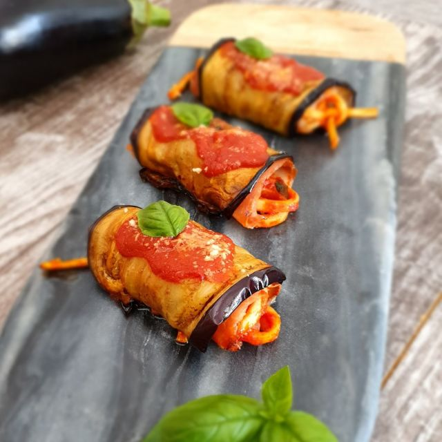 """EGGPLANT INVOLTINI PASTA 🍝 #Eggplant involtini stuffed with #spaghetti al pomodoro and basilico.  A fantastic version, which can be perfect for an excellent starter, or to be served in a buffet! 😋  😋Recipe: vincenzosplate.com (in the search type """"EGGPLANT INVOLTINI PASTA"""") - full video recipe also available on Facebook and YouTube . . . #pastarecipe #eggplantrecipe #involtinidimelanzane #italianrecipe #italyfoodporn #vincenzosplate"""