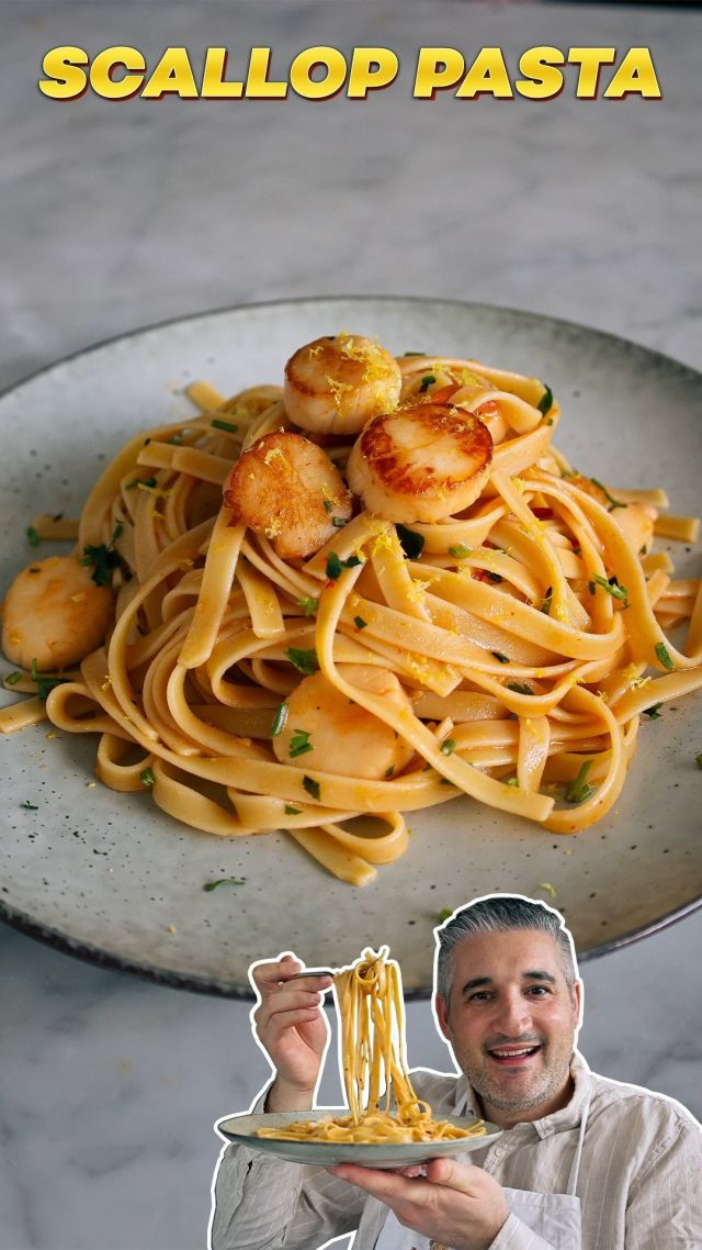 """SCALLOP PASTA RECIPE. Scallop #Pasta has just a few ingredients but once mixed together they are simply the perfect pairing – imagine it: #cherrytomatoes, parsley, lemon zest, garlic and chilli, then add the hero of the dish, fresh #scallops, lightly seared and bursting with flavour. 😍 Y-U-M.  😋 Recipe: vincenzosplate.com (in the search type """"Scallops Pasta"""") - full video recipe also available on Facebook and YouTube . . . #pastarecipe #scalloppasta #scallopsrecipe #capesante #pastacapesante #seafoodrecipe #seafoodpasta #vincenzosplate"""