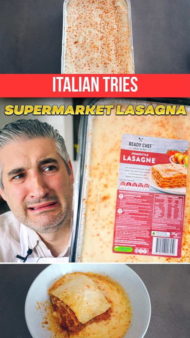 Italian Chef Try SUPERMARKET LASAGNE for the First Time 🛒🍽🤢. Yes, I tried Supermarket Lasagna and I immediately regretted it! 😭 Do not buy these things, but make them at home, it is much better! No one beats my Nonna's #Lasagna! 😍🤤  😋 Here is my Beef Lasagna #recipe -> https://www.vincenzosplate.com/recipe-items/beef-lasagna-recipe/ . . . #readymeals #supermarketfood #supermarketlasagne #reactionvideo #italianchef #youtuber #frozenfood #frozenlasagna #italianrecipe #lasagnarecipe #vincenzosplate