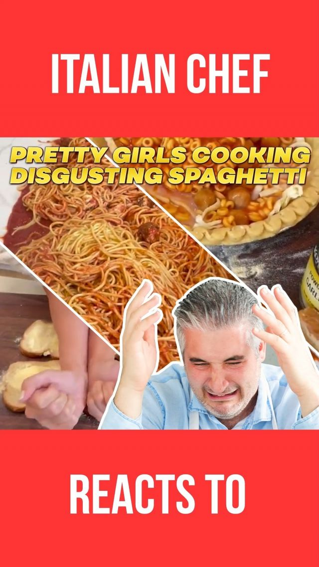 talian Chef Reacts to PRETTY GIRLS Cooking SPAGHETTI. So many of you sent me these 2 videos of 2 girls cooking weird #spaghetti for the family👯♀️.  I hope they were just joking and have fun to get the views because I don't want to believe people really eat this? 😱  😂 Watch the video and write a comment to let me know what you think. . . . #spaghettirecipe #reactionvideo #videoreaction #italianchefreact #italianchefreaction #italianchef #italianrecipe #vincenzosplate